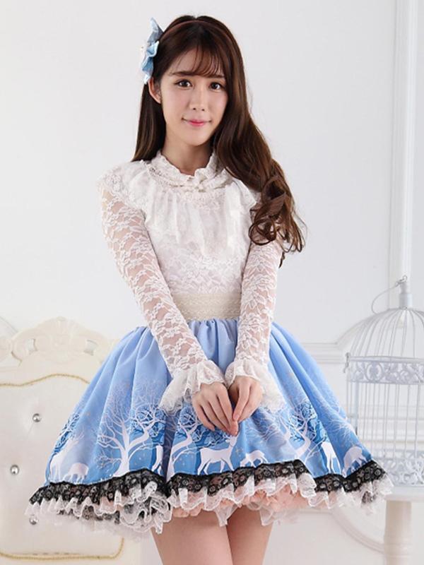 Blue Short Lolita Skirt Lace Trim Polyester Print