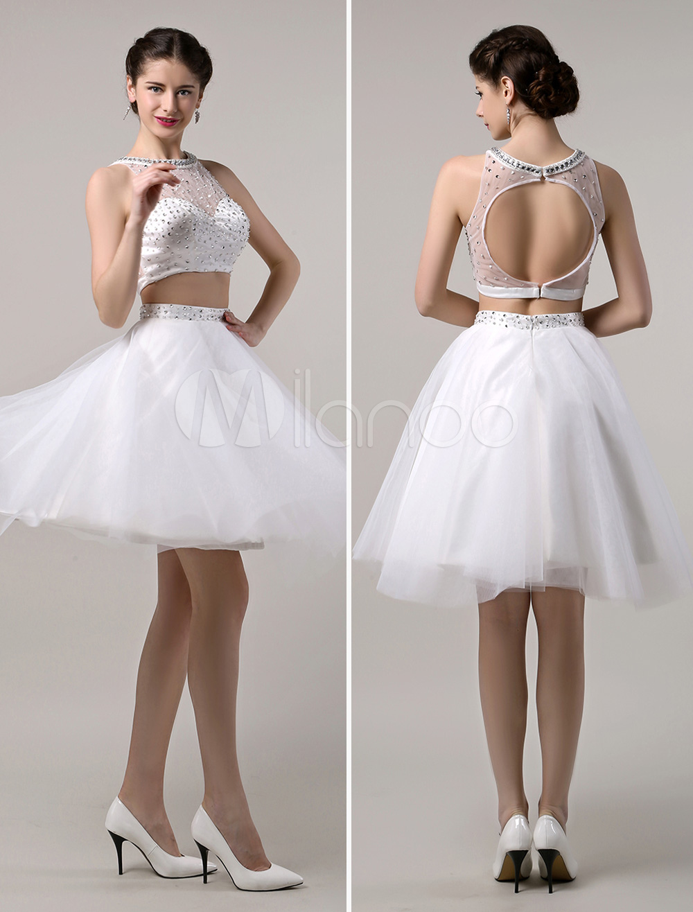 5f161fb0ae5f Two Piece Prom Dresses 2019 Short White Prom Dress Crop Top Cutout Back  With Tulle Tutu Skirt - Milanoo.com