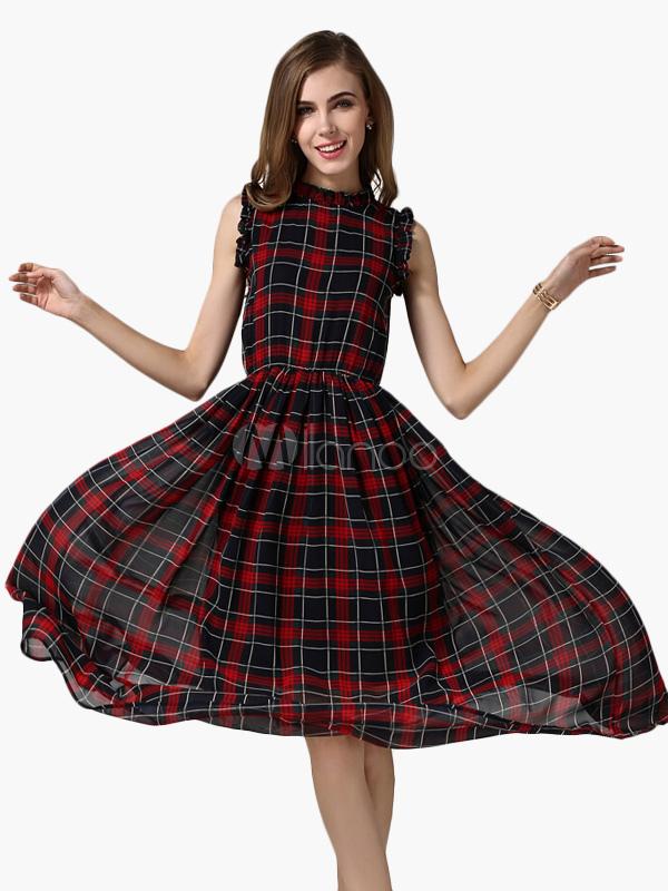 robe longue en chiffon multicolore cossais pliss. Black Bedroom Furniture Sets. Home Design Ideas