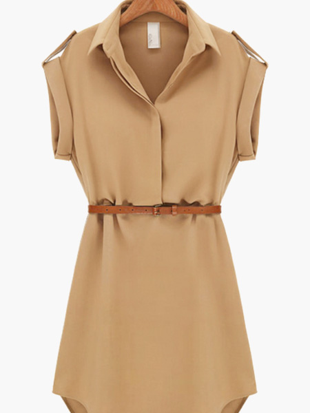 Shirt Dress With Belt Cheap clothes, free shipping worldwide