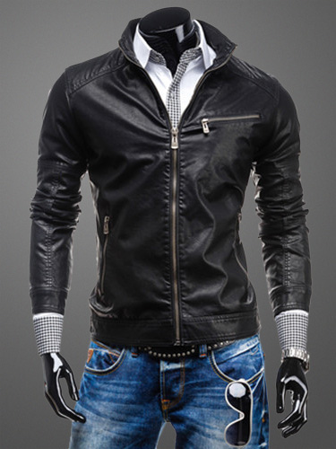 Buy Men Black Jacket Zipper Stand Collar PU Leather Jacket Short Moto Jacket for $53.19 in Milanoo store
