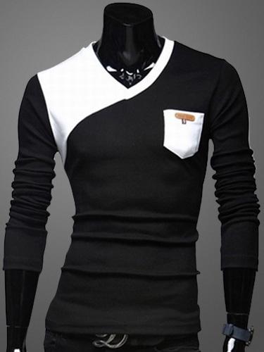 Long Sleeves V-Neck Cotton Blend T-Shirt