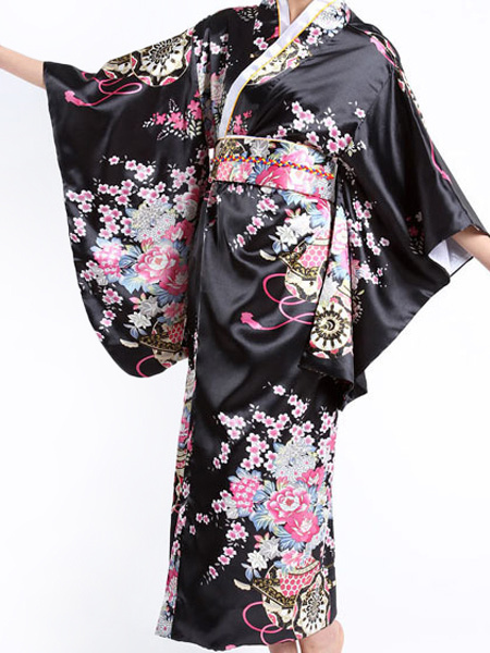 Black Traditional Women's Kimono Costumes