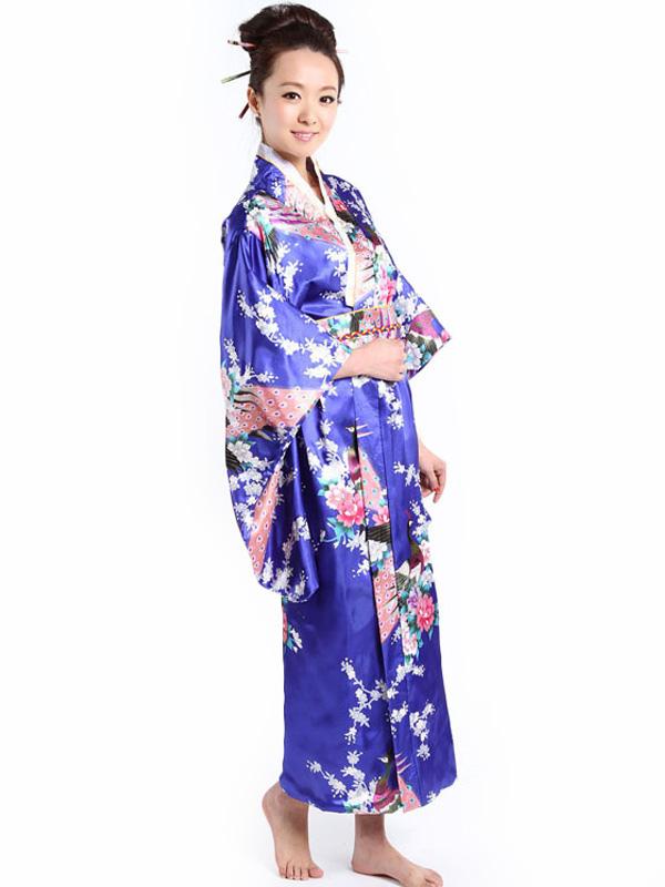 Trajes Kimono azul pavo real impresión femenina - Milanoo.com