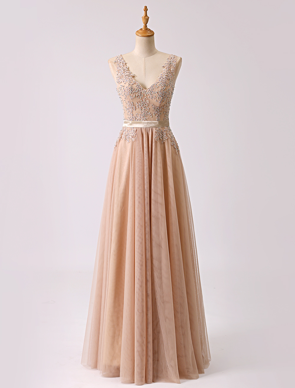 Long Deep V-neck Embroidered Beading Prom Dress With Sash Milanoo