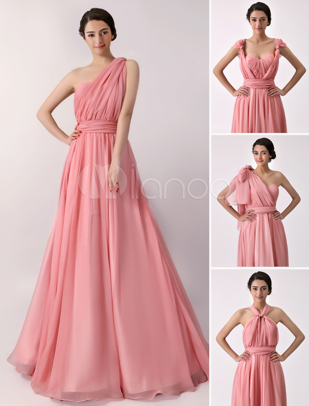 A line Floor length Chiffon Convertible Bridesmaid Dress Milanoo