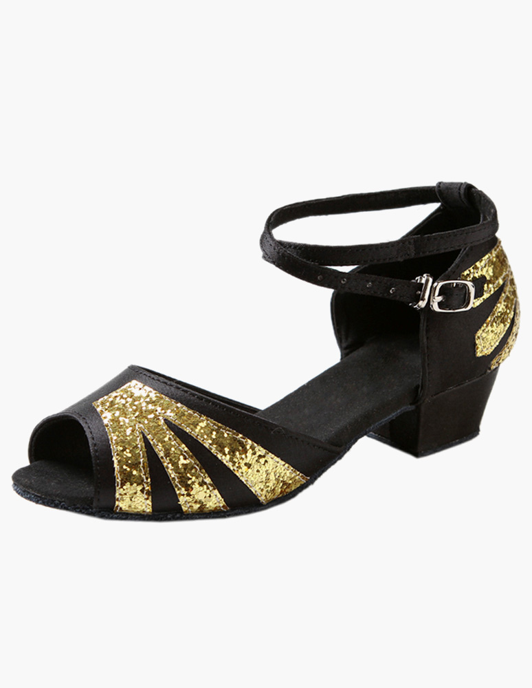 Professional Ankle Strap Satin Latin Dance Shoes