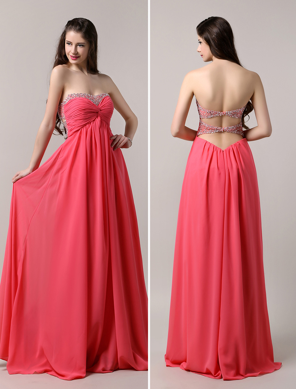 Strapless Sweetheart Chiffon Dress with Low Back
