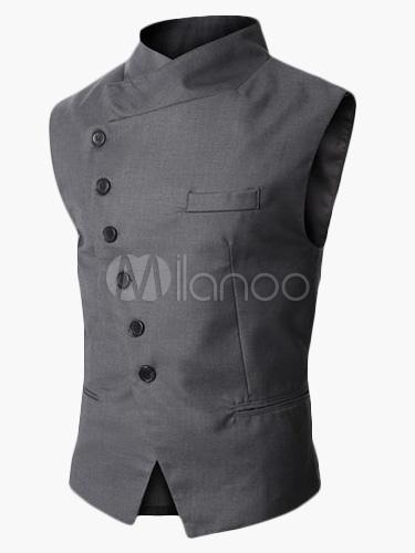 Cotton Men Waistcoat Stand Collar Button Up Surplice Gray Suit Vest 2018