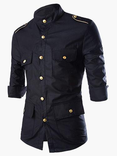 Men Shirt Casual Button Pocket Notch Collar 3/4 Sleeve Black Shirt Cotton