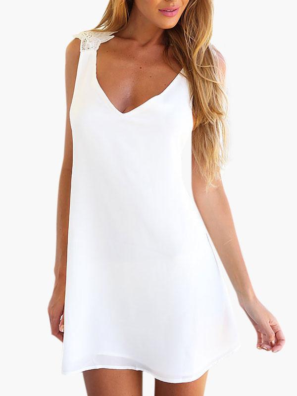 White Summer Dress 2018 Chiffon Cross Back Women Mini Dress