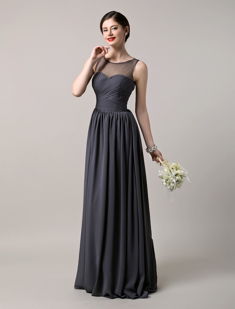 Chiffon Floor Length Sheer Sleeveless Bateau Bridesmaid Gown