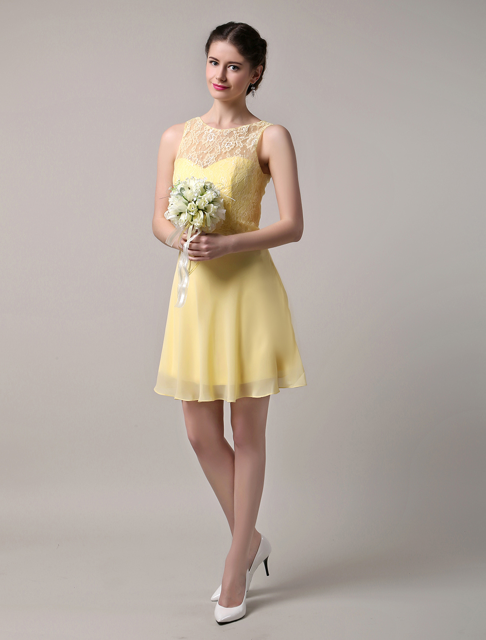 Chiffon  Lace Bateau Neckline Short Bridesmaid Dress