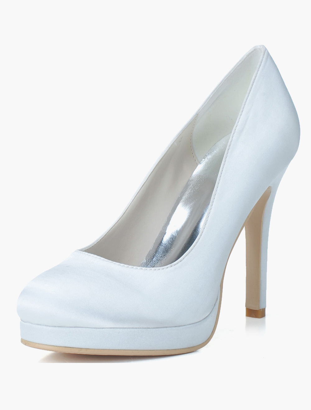 Satin Round Toe Slip-On Evening and Bridal Platforms