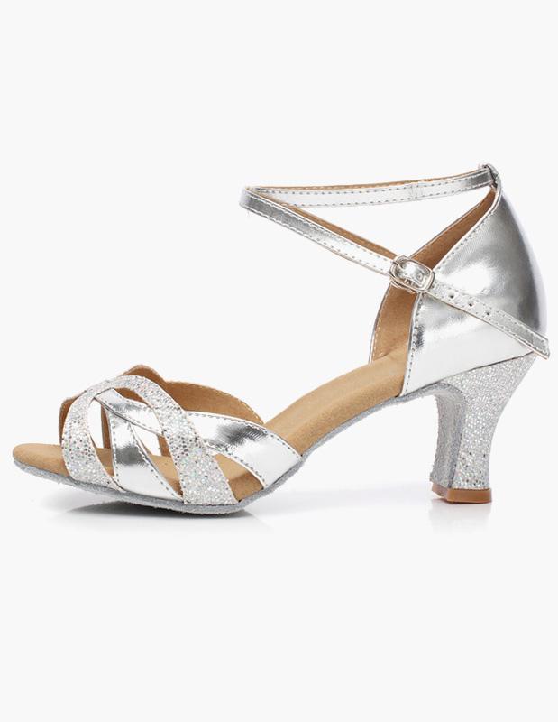 Zapatos de baile Correa brillo latino zapatos de puntera abierta del tobillo asIm1VATKS