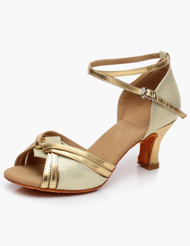 Ankle Strap Open Toe Glitter Latin Shoes