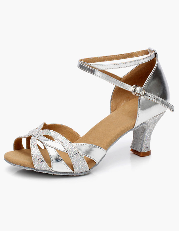 Latin Dancing Shoes Ballroom Dance Shoes Glitter Cut Out Criss Cross Dance Shoes