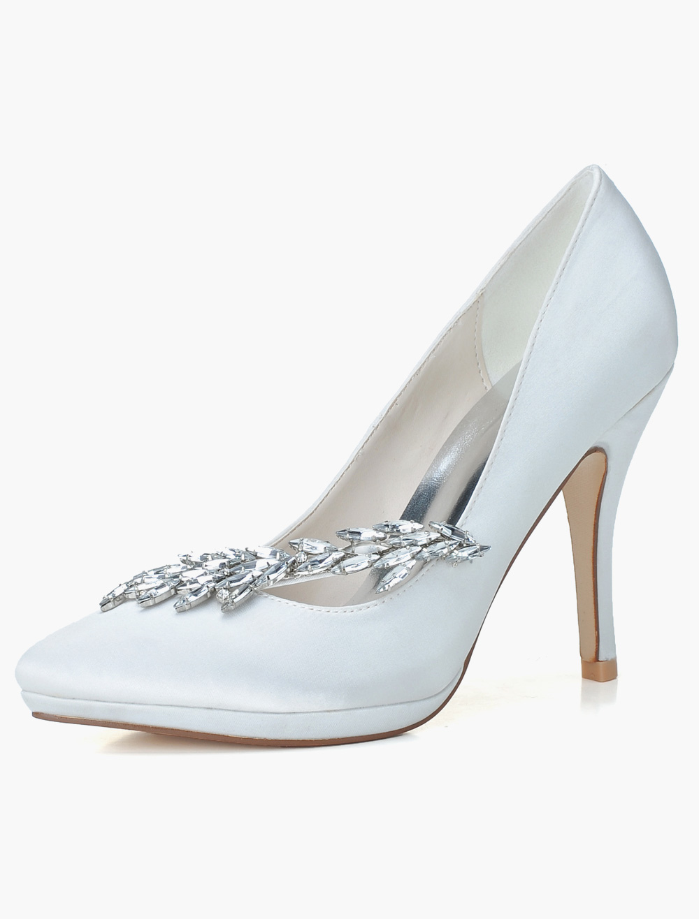 Buy Satin Pointed Toe Slip-On Rhinestones Evening and Bridal Platforms for $47.49 in Milanoo store