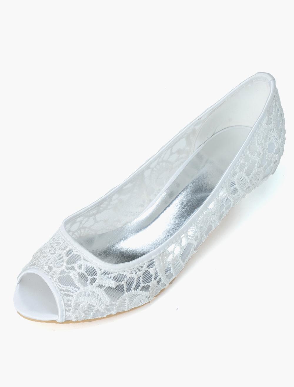 Pretty Lace Cut Out Peep Toe Bridal Pumps