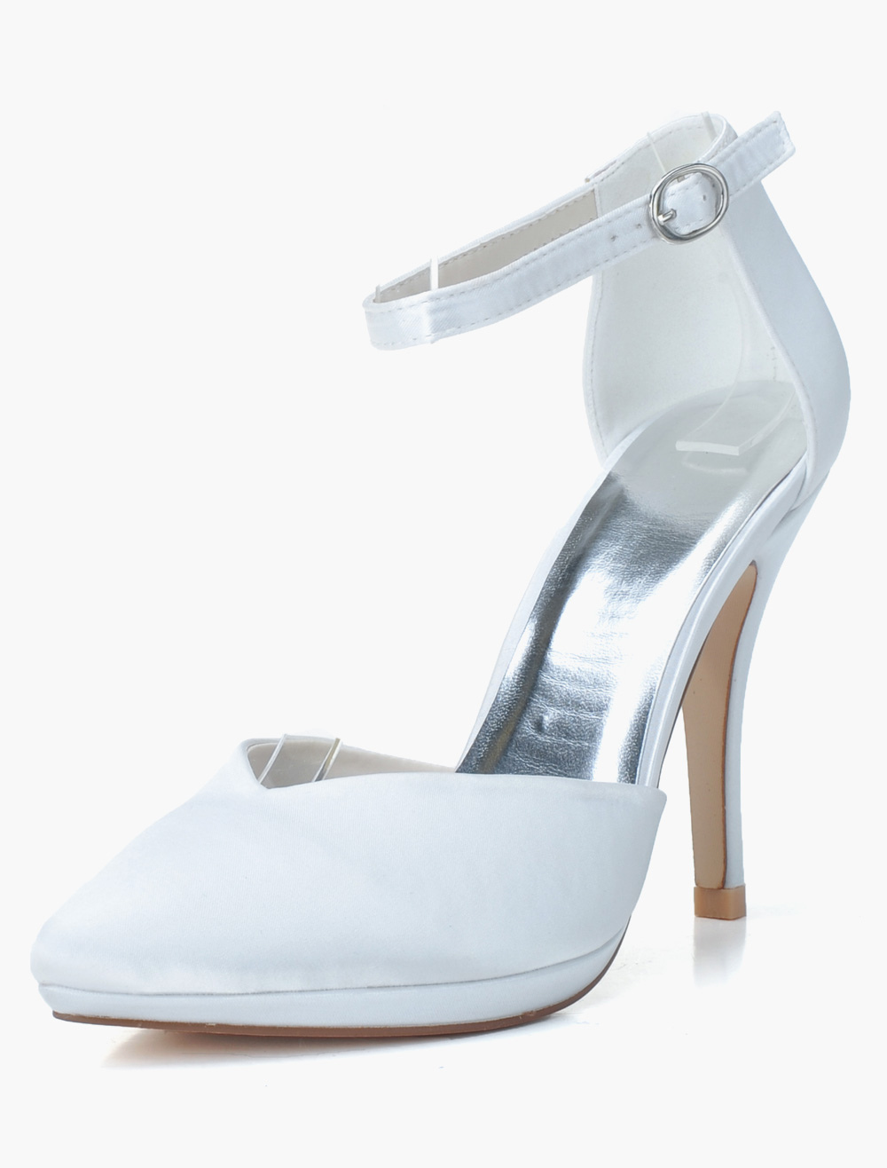 Buy White Ankle Strap Pointed Toe Satin Evening and Bridal Platforms for $45.59 in Milanoo store