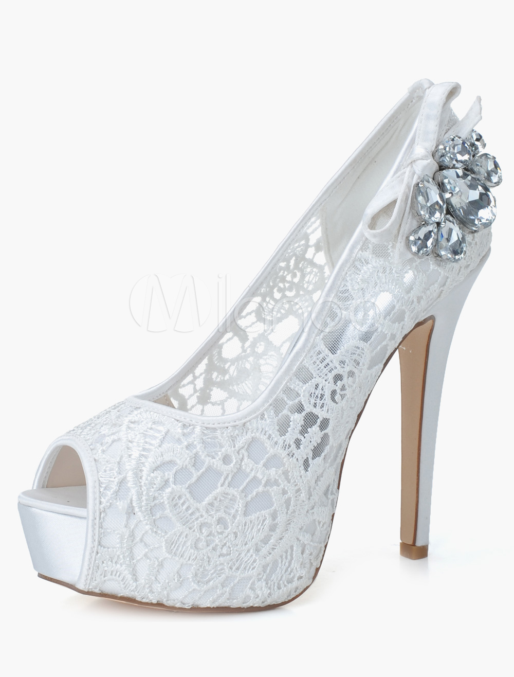 Cut Out Slip-On Peep Toe Lace Evening and Bride's Platforms
