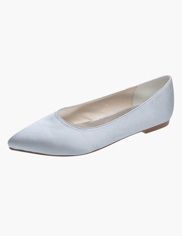 Slip-On Pointed Toe Satin Bridal Flats