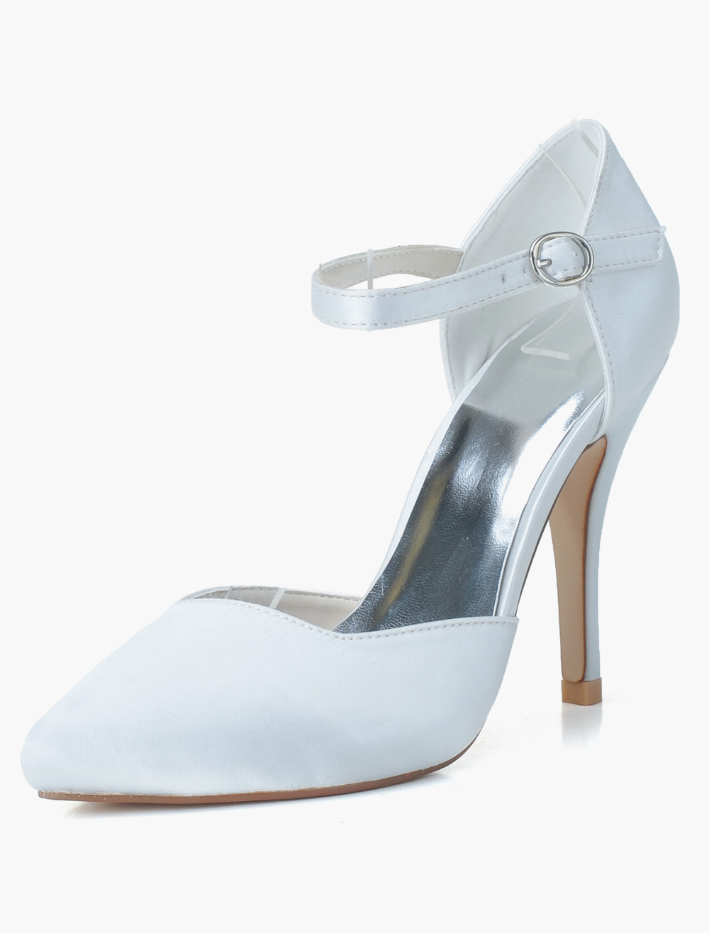 Satin Pointed Toe Ankle Strap Evening and Bridal Platforms