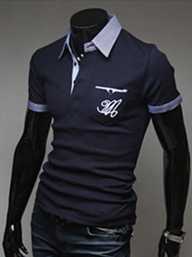 Fashion Cotton Pockets Short Sleeves Polo Shirt