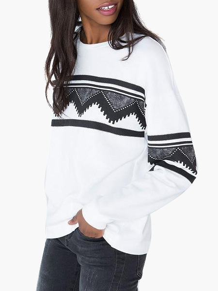 White Crewneck Printed Cotton Blend tops Cheap clothes, free shipping worldwide