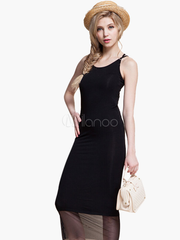 robe longue en polyester unicolore avec filets. Black Bedroom Furniture Sets. Home Design Ideas