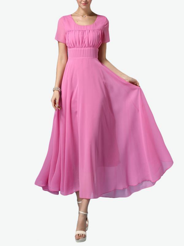 Short Sleeves Chiffon Split Pleated Maxi Dress