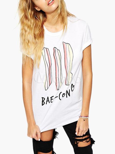 White Letters Print Short Sleeve T-Shirt For Women
