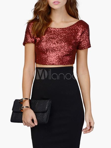 Women's Sequins Slim Fit Crop Top