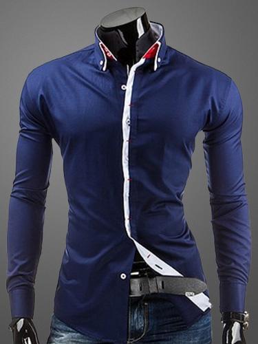 Turndown Collar Long Sleeves Shaping Cotton Casual Shirt