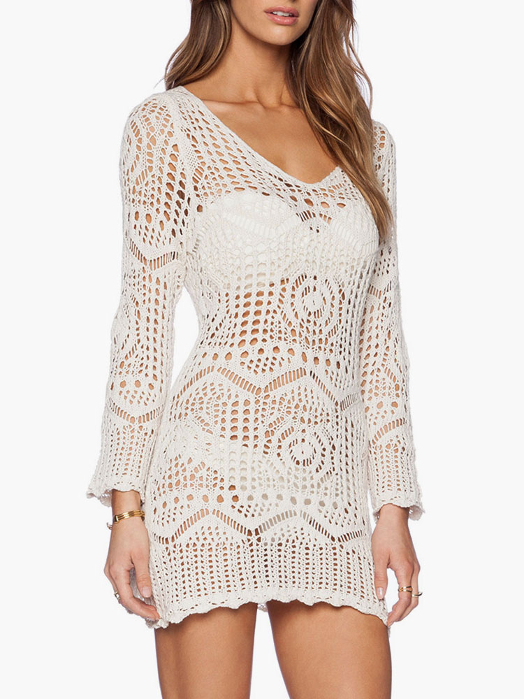 White Crochet Cover Up Sheer Long Sleeve Beach Bathing Suit