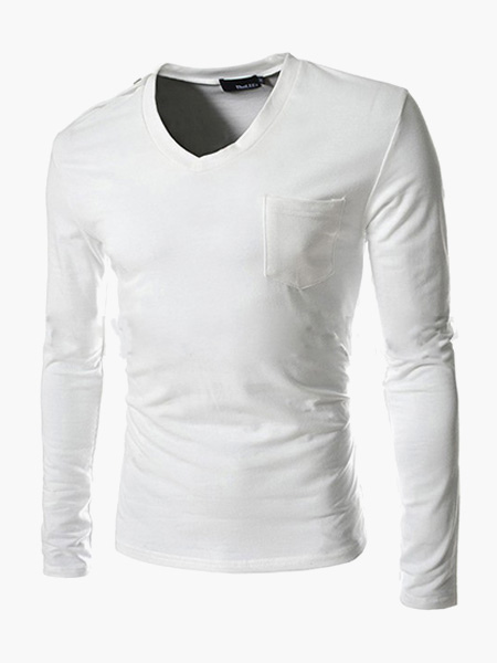 Long Sleeves V-Neck Cotton Tee Shirt
