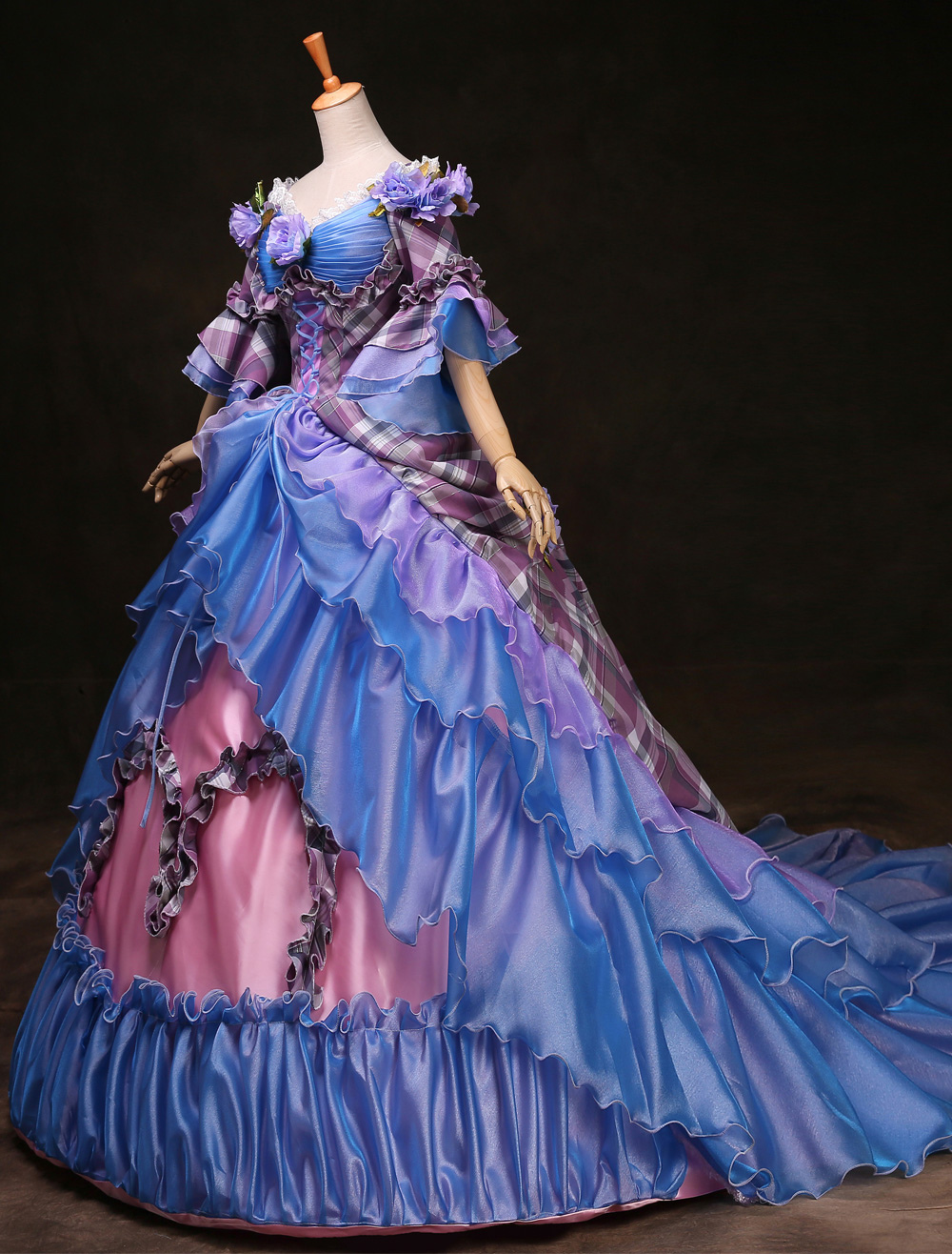 Royal Retro Costume Women's Rococo Ball Gown Blue Plaid Tiered Flowers Ruffle Vintage Princess Costume Halloween