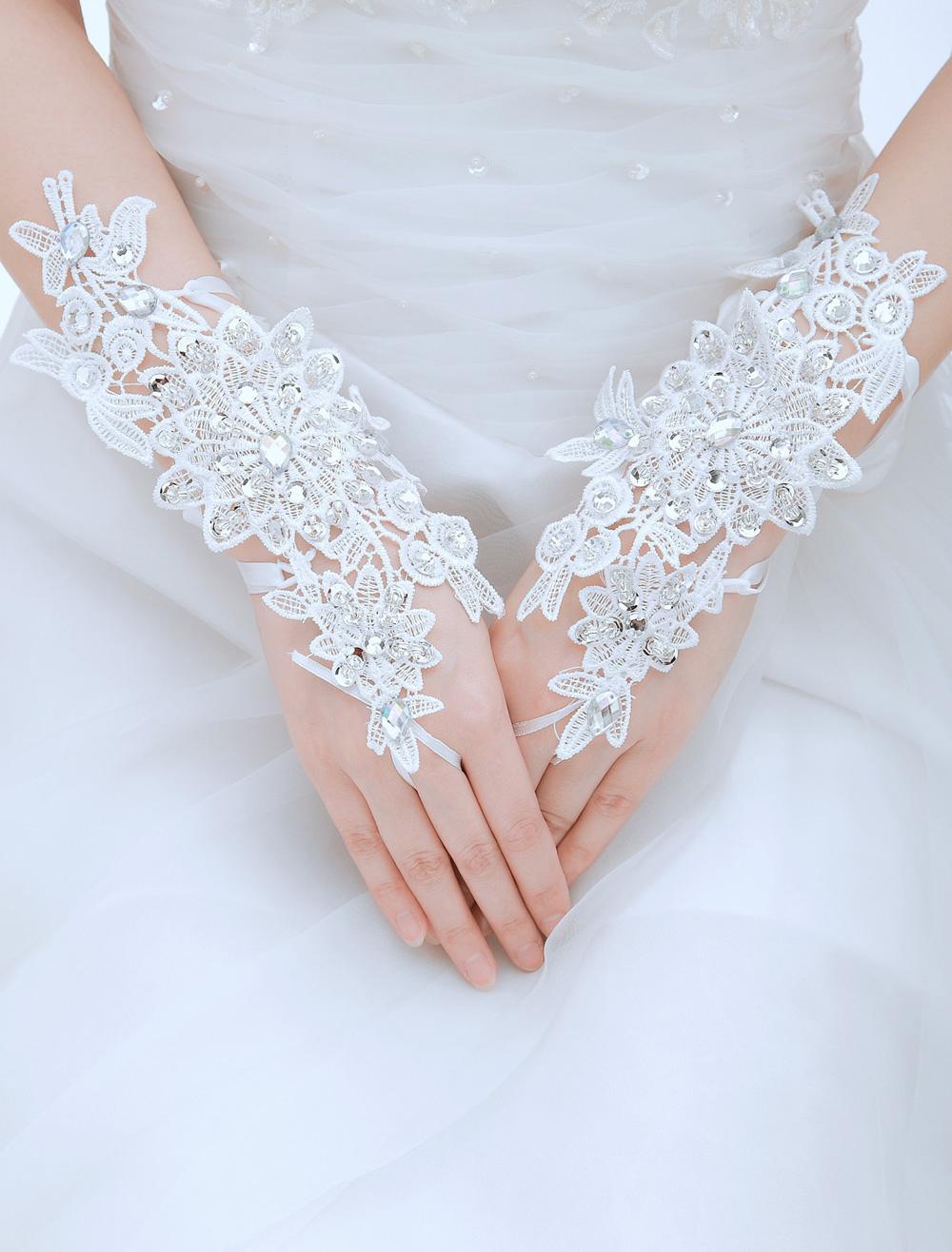 Luxuary Rhinestone Lace Wrist Length Fingertip Tulle Wedding Gloves