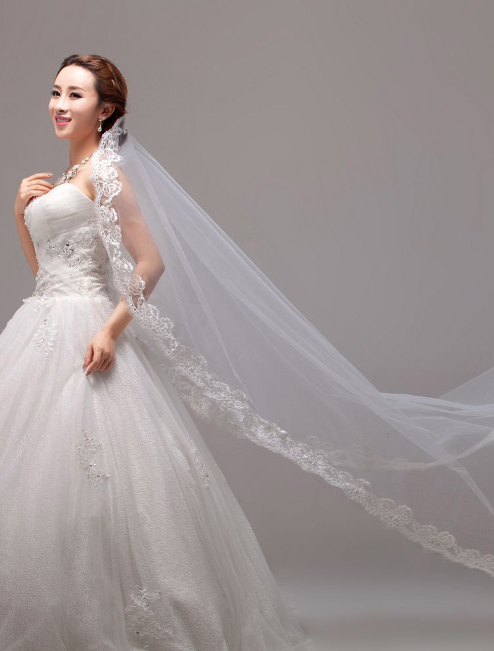 Waterfall Luxuary Embroideries Vintage Lace Applique Edge Cathedral Wedding Veil In One-Tier