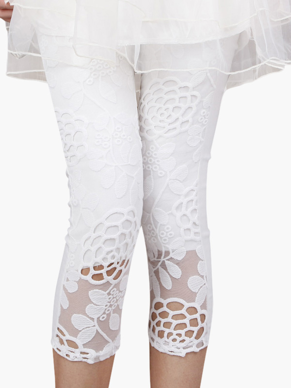 White Lace Leggings 2018 Embroidered Summer Cropped Leggings