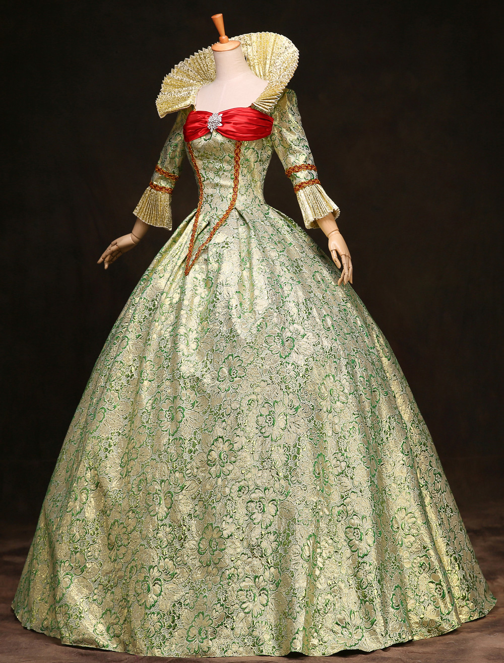 Buy Royal Retro Costume Women's Victorian Ball Gown Jacquard Floral Green Ruffle Tiered Vintage Princess Costume Halloween for $135.99 in Milanoo store