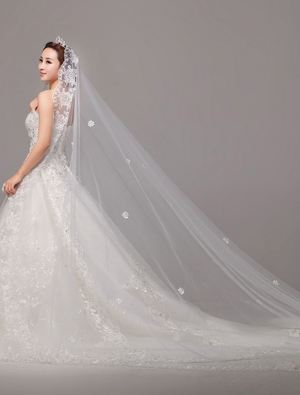 Luxuary Waterfall Lace Applique Edge Cathedral Wedding Veil In One-Tier