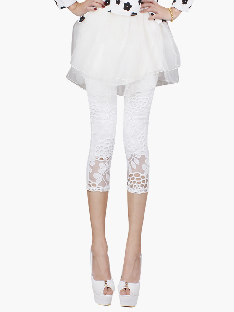White Lace Leggings 2018 Embroidered Summer Cropped