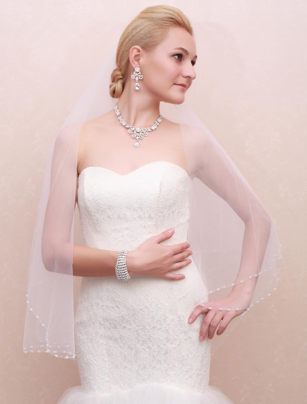 Wedding Veil Imitation Pearls Edge Fingertip Oval   One Tier bridal veil