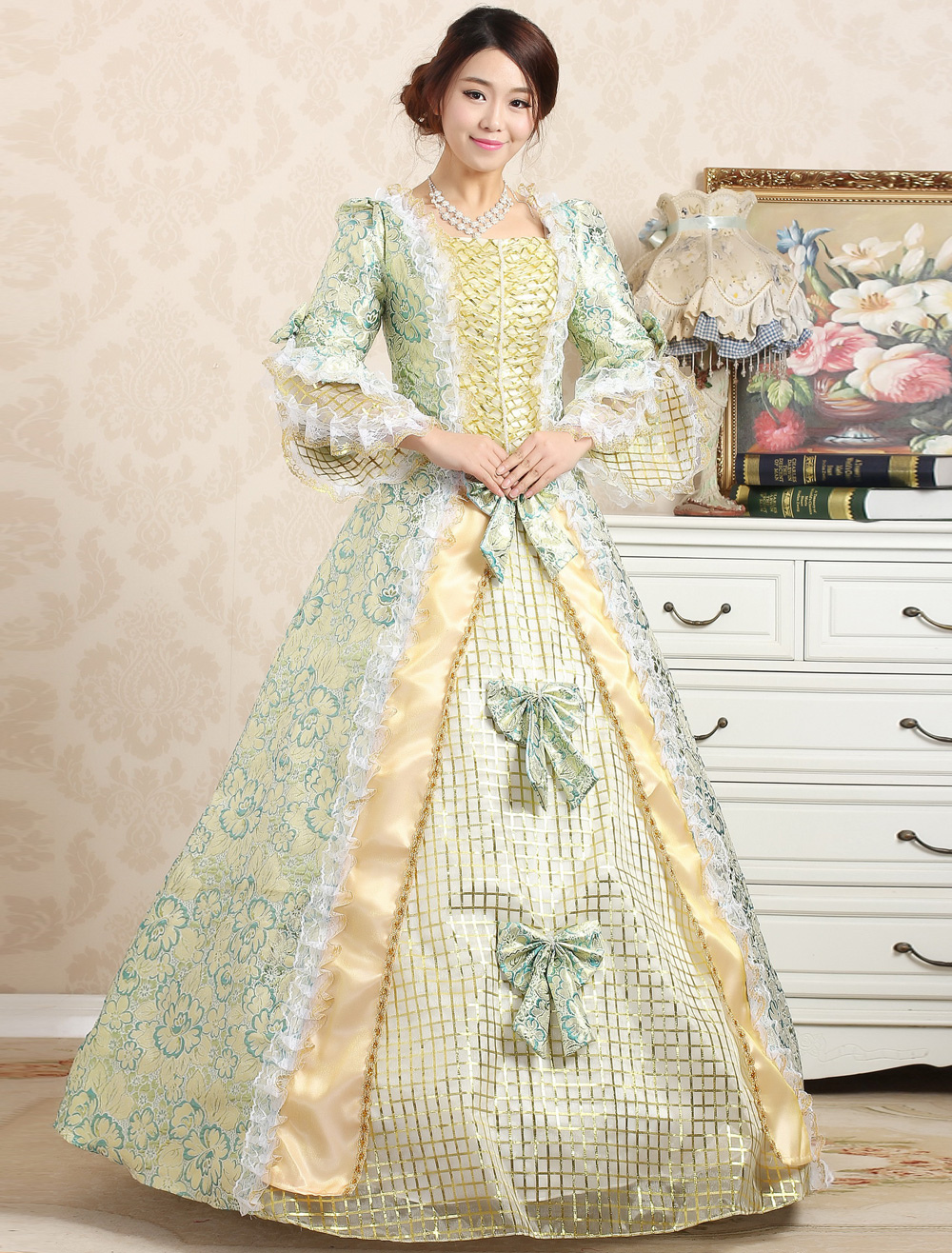 Buy Royal Retro Costume Women's Victorian Ball Gown Jacquard Floral Green Ruffle Bows Tiered Vintage Princess Costume Halloween for $73.99 in Milanoo store