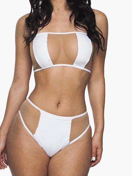 White Bathing Suit Two Piece Sheer Insert Bandeau Sexy Beach Swimwear