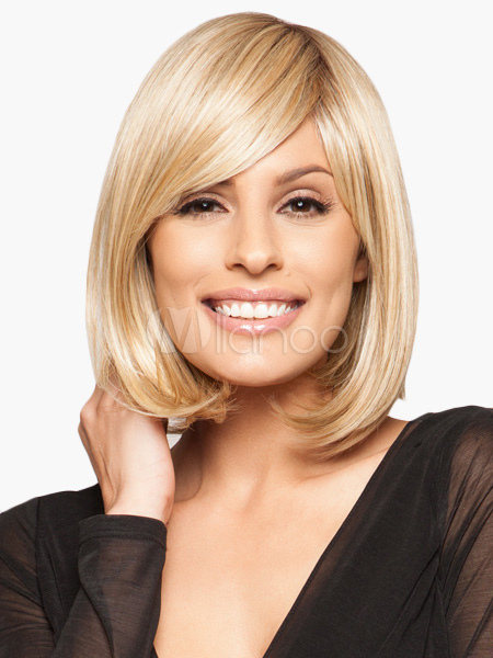 Buy Contemporary Gold 12 inches Side-swept Bangs Human Hair Wigs for $82.79 in Milanoo store