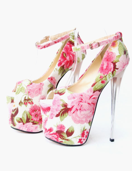 Women Sexy Shoes Red High Heels Platform Peep Toe Floral Printed Spiked Ankle Strap Pumps