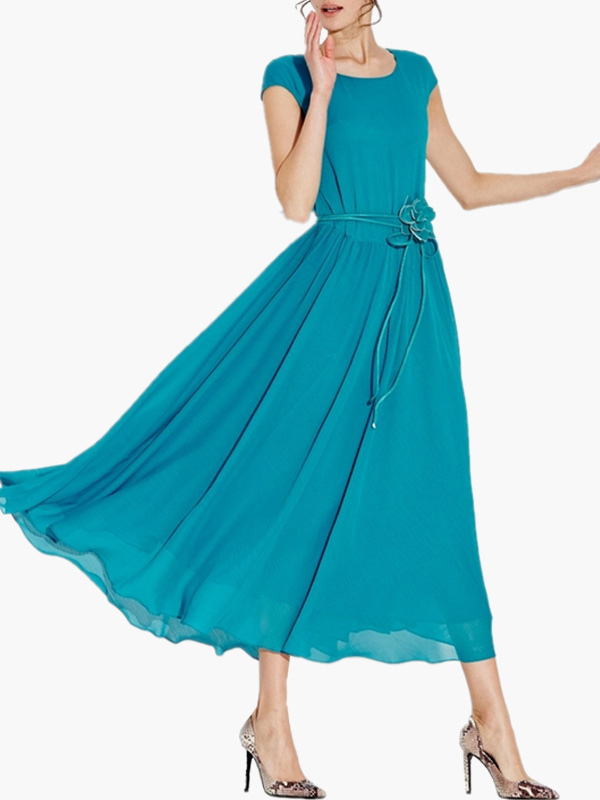 Solid Color Scoop Neck Short Sleeves Chiffon Maxi Dress