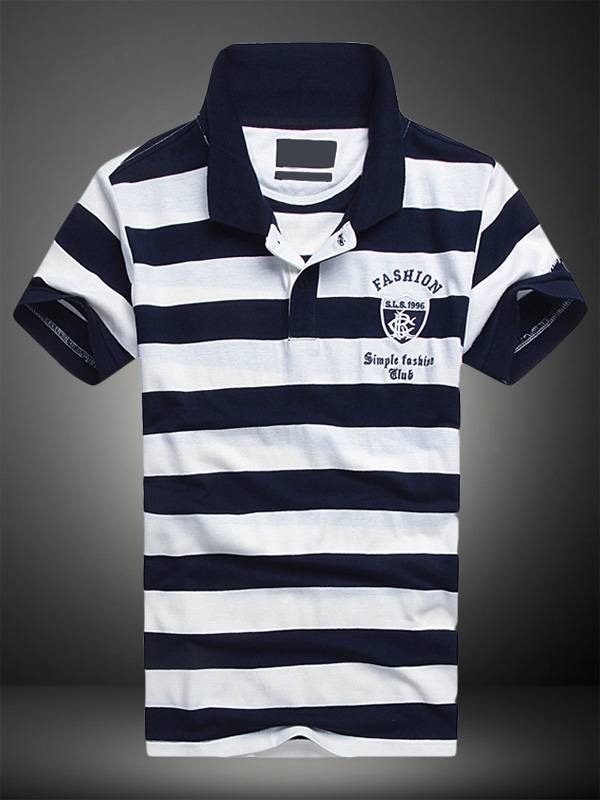 Words Print Cotton Short Sleeves Polo Shirt